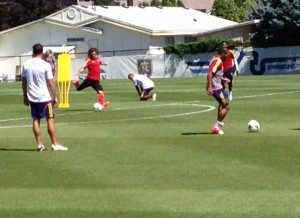 RSL captain Kyle Beckerman takes a shot at training. (Photo: Liviu Bird/SoccerWire.com)