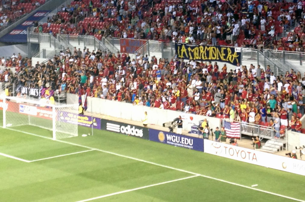 "A banner in the south end of Rio Tinto Stadium reads ""La Mormonera,"" a play on ""La Bombonera,"" a famous soccer stadium in Argentina, and Salt Lake's Mormon roots. (Photo: Liviu Bird/SoccerWire.com)"