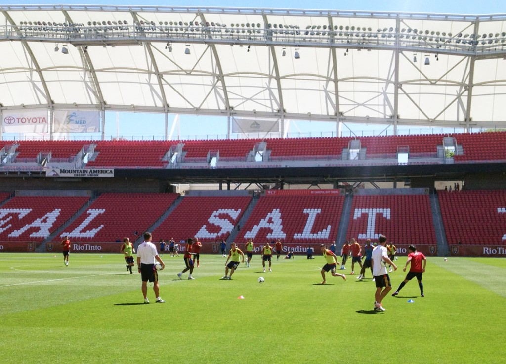 Real Salt Lake trains on its home field at Rio Tinto Stadium. (Photo: Liviu Bird/SoccerWire.com)