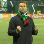 Portland Timbers head coach Caleb Porter reacts to his team's third goal in a 3-2 win over Seattle Sounders FC on Thursday. (Photo: NBC Sports Network screenshot)