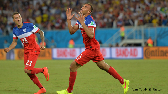 John Brooks and Fabian Johnson celebrate game-winning goal in 2-1 World Cup Group G win over Ghana.